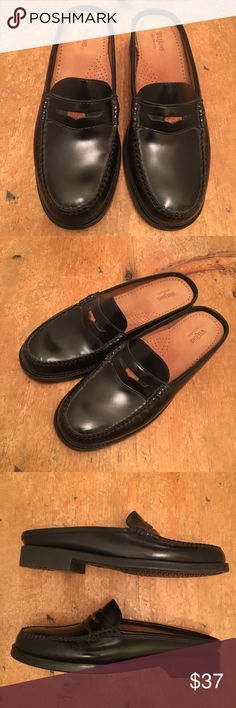 Weejuns Penny Slide Mule Black Leather Funky slip-on mule design penny loafers. Super comfortable leather cushioned sole. Like new. Bass Shoes Mules & Clogs