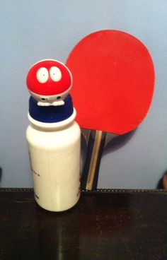 Red Nose getting ready for a game of Table Tennis!