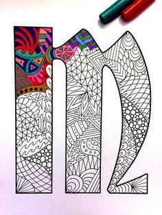 Letter M Zentangle Inspired by the font Deutsch por DJPenscript