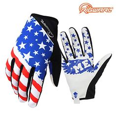 Women's Cycling Gloves - RIGWARL Stars  Stripes Lightweight American Flag Design MTB BMX Motocross Gloves for Cycling Bike Climbing Hiking *** Check this awesome product by going to the link at the image.