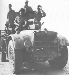 A AS-37 light truck modified with a mounted cannon operating in North Africa during 1942