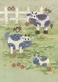 Cow Meadow Free Motion Embroidery, Embroidery Patterns Free, Free Machine Embroidery, Farm Quilt, Bug Art, Fabric Pictures, Hand Quilting, Machine Quilting, Sewing Art