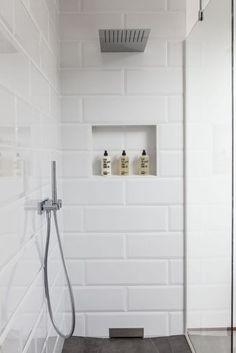 90 Insane Rustic Farmhouse Shower Tile Remodel Ideas - nancey news White Tile Shower, White Bathroom Tiles, Laundry In Bathroom, Small Bathroom, Large Tile Shower, Bathroom Shelves, Bathroom Ideas, Bath Tiles, Shower Tiles