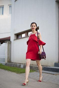 Skinny Buddha red cold-shoulder dress