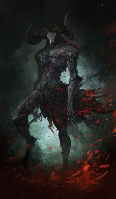 Agreus from Castlevania: Lords of Shadow 2, demon, concept art, horns, grey, red, blood, skeleton, head, man, beast,: