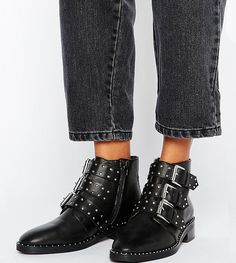 ASOS ASHER Leather Studded Ankle Boots #affiliatelink