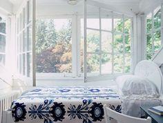 live breathe decor blue bed open window