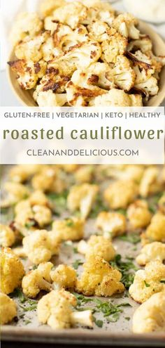 This roasted cauliflower is made in the oven with a head of cauliflower and so delicious! Perfect for dinner. Healthy Gluten Free Recipes, High Protein Recipes, Healthy Dinner Recipes, Delicious Recipes, Cauliflower Bites, Roasted Cauliflower, Cauliflower Recipes, Vegetarian Roast, Vegetarian Recipes