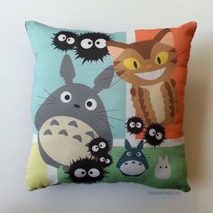 Totoro and Friends Pillow (Made to Order) by YumMeStudio on Etsy https://www.etsy.com/listing/170536410/totoro-and-friends-pillow-made-to-order