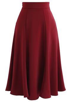 Asymmetric Flap Trim A-Line Midi Skirt in Red - Retro, Indie and Unique Fashion Unique Fashion, Vintage Fashion, Red Skirts, Cute Skirts, Fall Skirts, Skirt Belt, Midi Skirt, Pleated Skirt, Mode Vintage