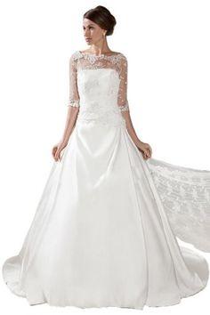 Sunvary White Bateau Half Sleeves Lace Bride Dresses Wedding Long- US Size 2- White Sunvary,http://www.amazon.com/dp/B00HNNB0V0/ref=cm_sw_r_pi_dp_CRNgtb0SHW94B9R5