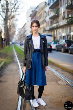 Marine Deleeuw in denim midi skirt and leath jacket #streetstyle