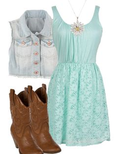 Country GIrl Style - Dress, Boots, Crop Jean Vest, Daisy Necklace White Dress Summer, Cute Summer Dresses, Casual Summer Outfits, Cute Dresses, Cute Outfits, Outfit Summer, Summer Wear, Summer Shoes, Fall Outfits