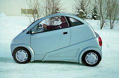 Lightweight electric car, Štefan Klein design, prototype for WUSAM Zvolen, 1998 (photo by Slovak Design Centre Archive) – Profil slovenskej kultúry Weird Cars, Cool Cars, Vintage Cars, Antique Cars, Go Kart, Microcar, City Car, Small Cars, Car Humor