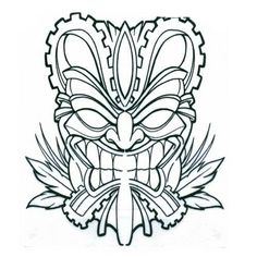 outline in color masks japanese Tiki Mask Tattoo On Biceps Tiki Maske, Warrior Symbols, Tiki Tattoo, Elephant Coloring Page, Tiki Head, Tribal Elephant, Shetland, Dibujos Tattoo, Tiki Art