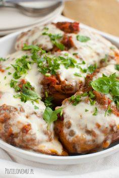 Pieczone bataty z zieloną soczewicą à la bolognese Magic Recipe, Tofu, Baked Potato, Mashed Potatoes, Vegan Recipes, Food And Drink, Baking, Breakfast, Health