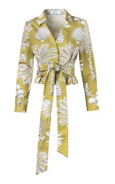 Exclusive Tie-Detail Printed Cotton-Poplin Top by Maison Alma Zara Fashion, Fashion Brand, Trendy Fashion, Fashion Outfits, Fashion Design, Crop Top Designs, Blouse Designs, T Shirt Sewing Pattern, Stylish Dress Designs
