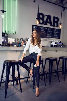 Light grey heels with coated jeans and white blouse