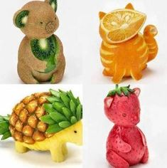 Is it a fruit or is it an animal? Well, they are animals carved out of fruits! Learn about animals the fun way with Vyaap's KidsZoo Animal Sounds and Photos App. Fruit Decorations, Food Decoration, Deco Fruit, Fruit Creations, Creative Food Art, Fruit And Vegetable Carving, Food Carving, Food Garnishes, Garnishing