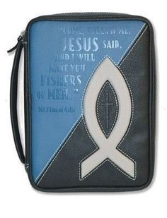 Fishers Of Men, Bible Cover, Black and Blue, Medium