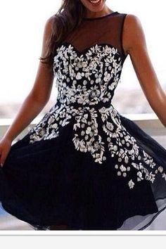 AHC068 New Arrival Dark Navy Appliques Homecoming Dresses 2017