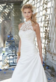 Wedding Dresses - Satin Wedding Dress with Beaded Lace Halter from Camille La Vie and Group USA