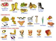 Me encanta escribir en español: La ropa: calzados, accesorios y joyas