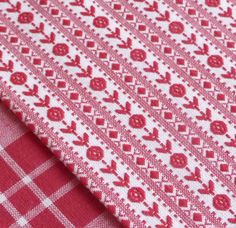 Cherry red Nordic rose woven stripe fabric vintage homespun quilting craft