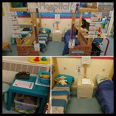 Hospital role play/home corner. Doctor Role Play, Kids Role Play, Playing Doctor, Play Corner, Corner House, Home Corner Ideas Early Years, Role Play Areas Eyfs, Hospital Corners, Kids Indoor Playground
