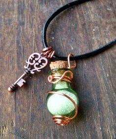 Rounded Green Bottle W/Silver Glitter, Copper Key & Swirly Wire Art! Great Necklace, Rear View Mirror Charm, Wine Bottle Charm, Mug Charm