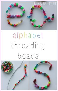 Fine motor alphabet threading beads activity!