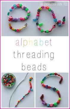 Fine motor alphabet threading beads activity!