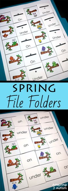 This spring file folder activity pack is full of basic concepts practice for your special education or speech therapy students.  Includes 10 concepts and 2 levels each including many visual supports for your students with autism.