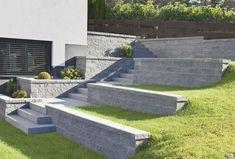 Concrete slabs for terraced garden and outside steps - Garden & Terrace - Sloped Backyard Landscaping, Sloped Yard, Landscaping Ideas, Landscape Plans, Landscape Design, Garden Design, Garden Stairs, Terrace Garden, Outside Steps