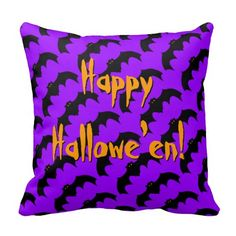 Happy Halloween Bat Pattern Bats Purple Orange Throw Pillows