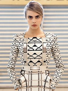 Mary Katrantzou  Cara Delevingne's eyebrows look like the inspiration for this gorgeous dress.