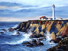 """$195 """"North Coast Sundown"""" by Erin Dertner ~ 17 x 22 - Impressionist Oil painting of the historic Point Arena Light Station on the Northern Coast of California in Mendocino County. Artwork is a Signed Limited Edition Giclée Reproduction on premium quality paper."""