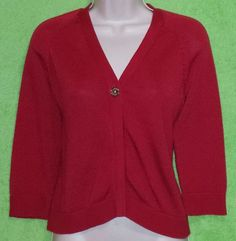 Chaps Classics Women's Dressy One Button Red Knit Cardigan Sweater Size M EUC #Chaps #Cardigan