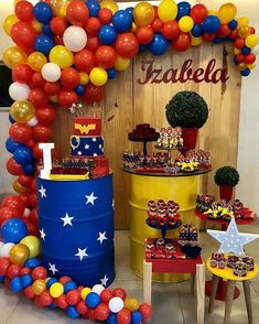PartyWoo Party Balloons 85 Pcs Latex Balloons Birthday Balloons Helium Balloons for Children's Party Wonder Woman Party Snow White Theme Party Superhero Party - Red & Yellow & Royal Blue & Gold Happy Birthday Boy, Wonder Woman Birthday, Wonder Woman Party, Superhero Birthday Party, Birthday Parties, Birthday Month, Birthday Wishes, Girls Party, Ladies Party