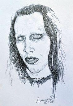 Portrait - Marilyn Manson by Susanna Varis pecil sketch 2008