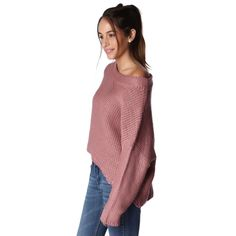 Pink asymmetric open knit sweater with boat neck