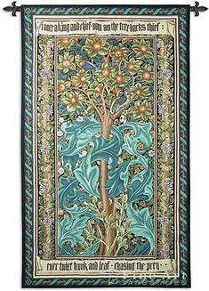 72x41 WOODPECKER William Morris Green Fine Art Tapestry Wall Hanging
