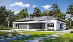 Projekt domu parterowego Klarowny D55 o pow. 138,99 m2 z obszernym garażem, z dachem wielospadowym, z tarasem, sprawdź! House Front, My House, Home Fashion, Exterior Design, House Plans, Shed, Villa, Outdoor Structures, House Design