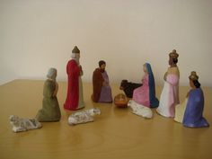 Antique Nativity Set Paper Mache Made in Germany 11 pieces  | eBay