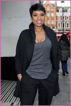 "51347730 ""Dreamgirls"" star Jennifer Hudson rocks her short pixie haircut as she stops by the Sony Music offices in London, England on March 5, 2014."