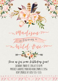 Wild One First Birthday Invitation, Boho Floral Girl Pink Peach 1st Birthday…