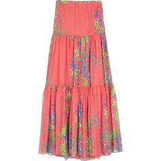 Halston Heritage Sugar Coral Tiered Maxi Skirt ($233) found on Polyvore