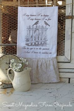 """Flour Sack Kitchen Towel.....Farmhouse Syle Shabby Cottage Chic Country Scripture Picket Fence Birds.........""""For his eye is on the Sparrow"""""""