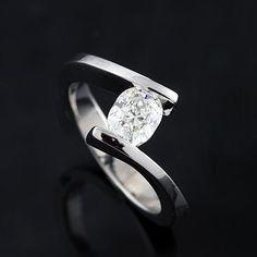 Cushion Diamond Engagement Ring 14K White Gold mounting