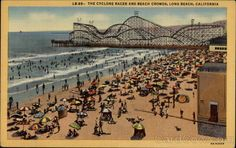 The Pike Amusement Park, Long Beach CA. Postcard shows the famous Cyclone Racer roller coaster.